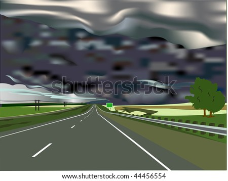 Storm on the Horizon with Interstate Highway and Sign with Copy Space. - stock vector