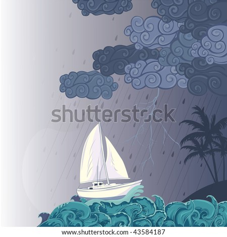 stormy night on the sea - stock vector