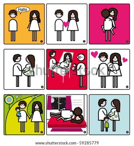 Story about two people in love. - stock vector
