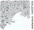 Straight A Star Student Scribble Inky Doodles- Back to School Notebook Doodle Design Elements on Lined Sketchbook Paper  Illustration - stock photo