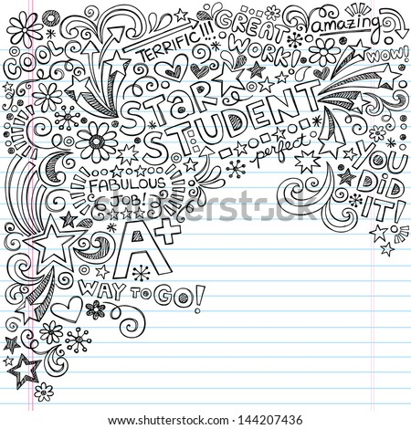 Straight A Star Student Scribble Inky Doodles- Back to School Notebook Doodle Design Elements on Lined Sketchbook Paper  Illustration - stock vector