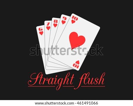Straight flush playing cards, hearts suit. Poker hand. Vector illustration.