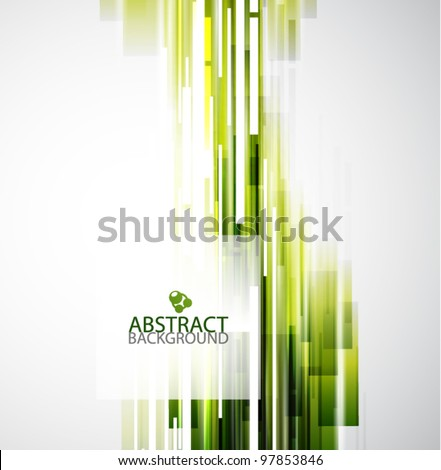 Straight green lines abstract vector background - stock vector
