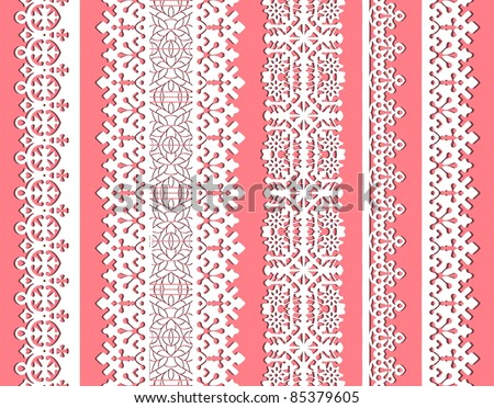 straight vector lace set. Seamless lace trims for use with fabric projects, backgrounds or scrap-booking.  Elements can also be used as brushes - stock vector