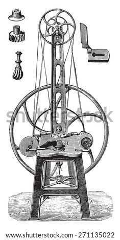 Straightening machine, polish and finish, vintage engraved illustration. Industrial encyclopedia E.-O. Lami - 1875.
