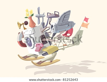 Strange and crazy device no.2! It consists of various incompatible parts and looks great! Editable vector EPS v9.0 - stock vector