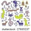 Strange but cute creatures - stock vector