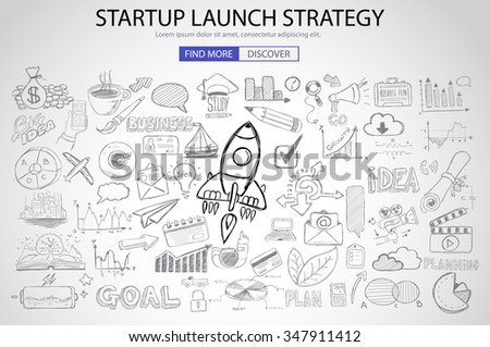 Strartup Launch Strategy Concept with Doodle design style :finding solution, monetization strategy, increase funding. Modern style illustration for web banners, brochure and flyers. - stock vector