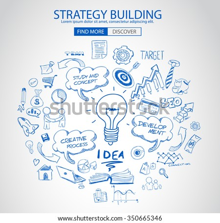 Strategy Building concept with Doodle design style :finding solution, brainstorming, creative thinking. Modern style illustration for web banners, brochure and flyers. - stock vector