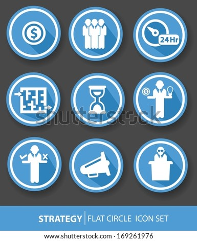Strategy,Business buttons,Blue version,vector - stock vector