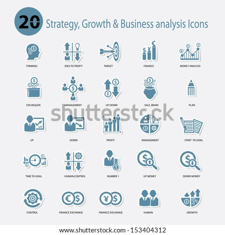 Strategy,Growth & Business analysis Icons,Blue version,vector - stock vector