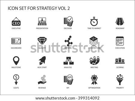 Strategy icon set. Various symbols for strategic topics like optimization,dashboard,prioritization,milestone, costs, revenue - stock vector