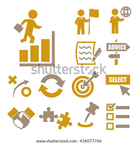 strategy icons - stock vector