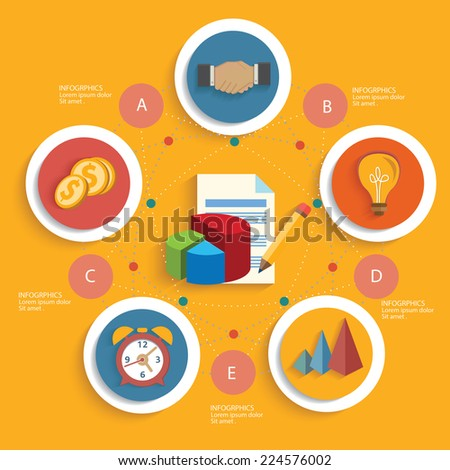 Strategy of business concept on yellow background,clean vector - stock vector