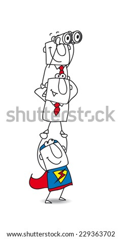 Strategy of the teamwork. A superhero carries on his shoulders two businessmen. It's a metaphor: the coach helps the team in their jobs and in their career perspectives - stock vector