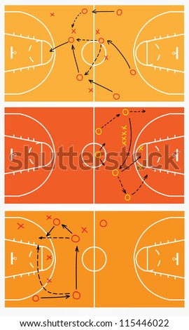strategy or tactic plan of a basketball game, Vector illustration - stock vector