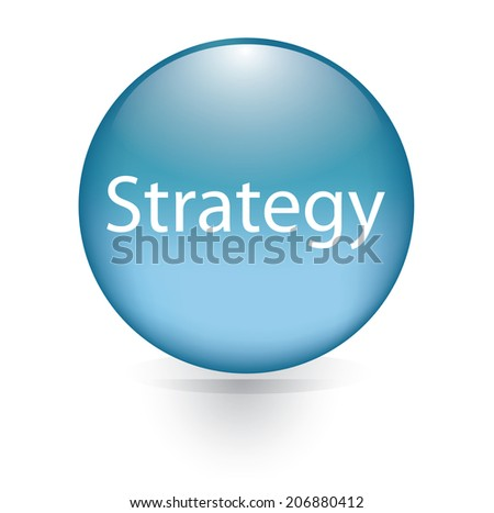 Strategy word blue button  - stock vector