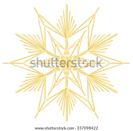 Straw star - vintage handicraft christmas decoration. Isolated vector illustration over white background. - stock vector