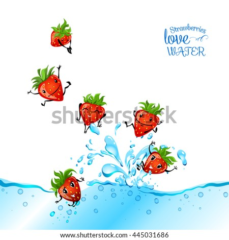 Strawberries love water. Strawberry character having fun in a water. Food illustration. - stock vector