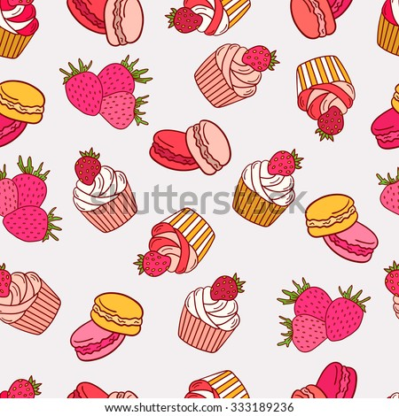 Strawberries, macaroon and cupcakes seamless pattern vector. Doodle collection fresh fruits and confection. Pink background - stock vector