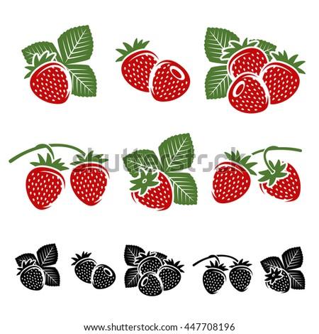 Strawberries set. Vector - stock vector