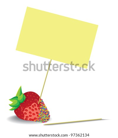 strawberries with blank Note - stock vector