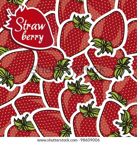 strawberries with white border grouped cartoon, background - stock vector