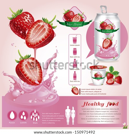 Strawberriy juice infographics.vector illustration - stock vector
