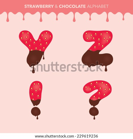 Strawberry and chocolate alphabet (characters Y, Z, question mark and exclamation mark) and flowing drops pattern - vector illustration - stock vector