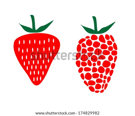 Strawberry and raspberry vector illustration - stock vector