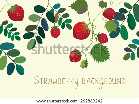 Strawberry background with leaves and fruits - stock vector