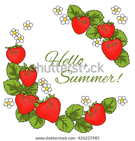 Strawberry Berries Leaves Flowers Circle Frame Stock Vector ...