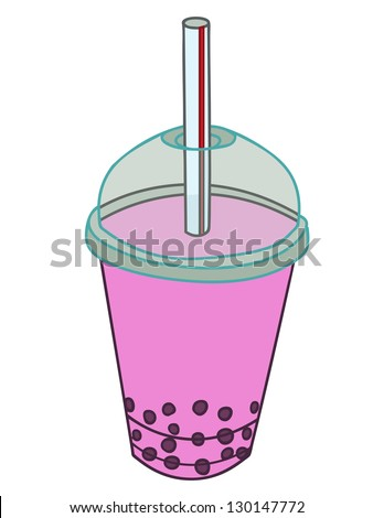 Strawberry Bubble Milk Tea with berry and tapioca pearls vector - stock vector