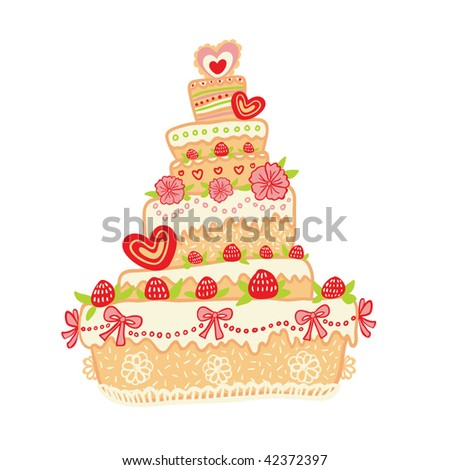 strawberry cake on a white background - stock vector