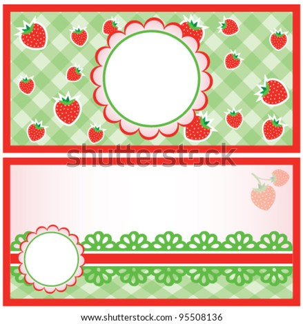 Strawberry cards, vector - stock vector
