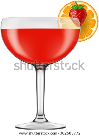 Strawberry Daiquiri, vector illustration.