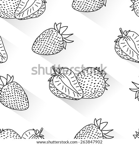 Strawberry doodle seamless - stock vector