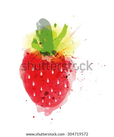 Strawberry Fruit isolated on white background, Vector illustration - stock vector