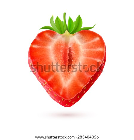 Strawberry. Half of a berry isolated on white background - stock vector
