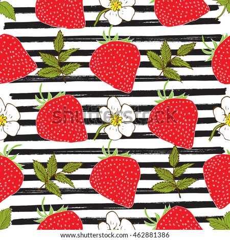Strawberry hand drawn sketch striped Seamless Pattern. Vector Illustration
