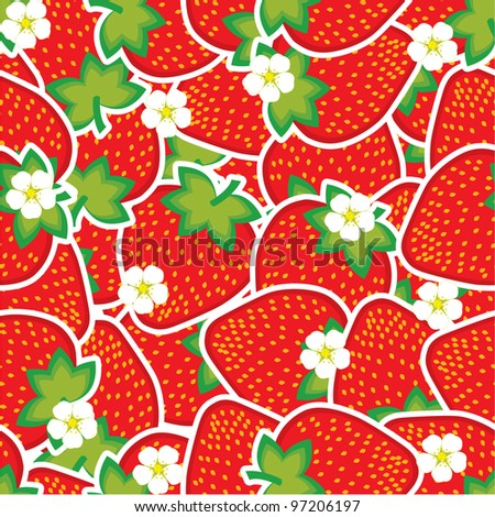 strawberry pattern - stock vector
