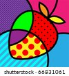 strawberry pop-art fruits vector illustration for design - stock vector