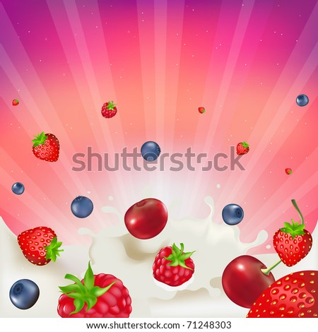 Strawberry, Raspberry, Bilberry And Cherry,  Falling Into Splash Of Milk, Vector illustration - stock vector