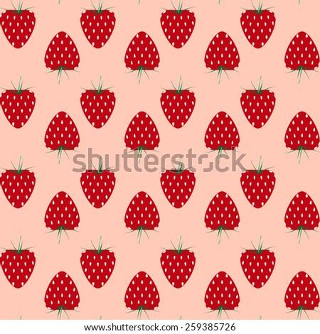 Strawberry seamless pattern - stock vector