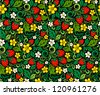 Strawberry seamless pattern in traditional russian style Hohloma (a brand of Russian traditional ornaments used for painting on wooden things - spoons, dishes, etc.) - stock vector
