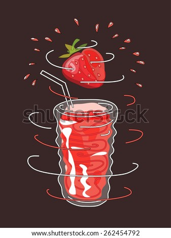 Strawberry smoothie vector concept. Design element for cafe or restaurant with energetic fresh drink. Fresh juice for healthy life. Organic raw shake. Hand drawn illustration. Rotating glass. - stock vector