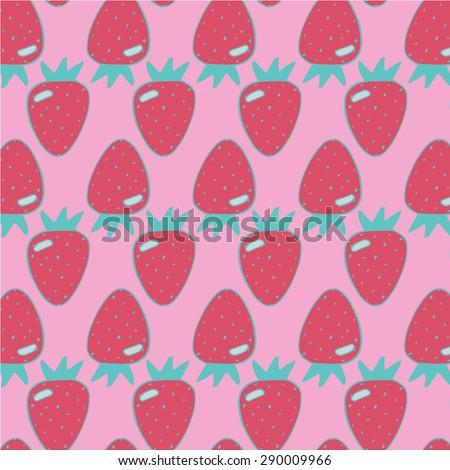 Strawberry Summer Pattern - stock vector