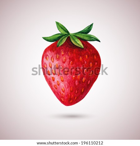 Strawberry watercolor isolated on white. Hand drawn vector illustration - stock vector