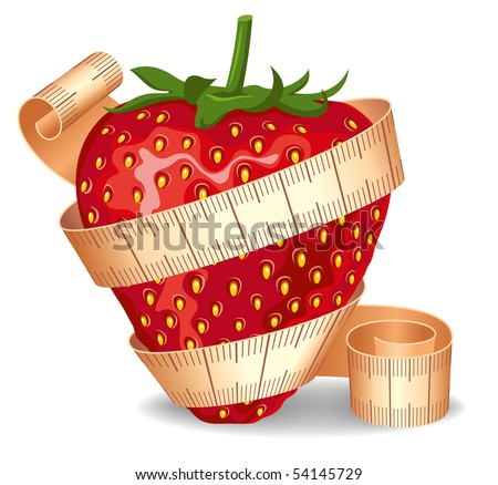 Strawberry wrapped in a measuring tape. Symbol of diet and healthy lifestyle. - stock vector