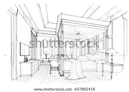 Streaks Bedroom Black White Interior Design Stock Vector 607882418 on dark interior design, modern minimalist house design, ceiling lighting interior design, modern hotel bar and lounge interior design, black interior designers, nordic interior design, all black and white interior design,
